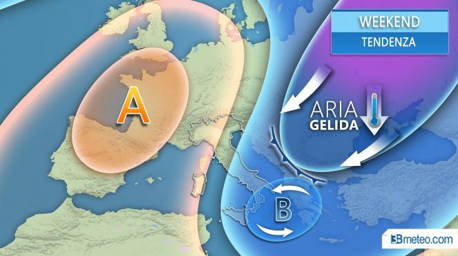 Aria fredda in arrivo dall'est Europa nel weekend