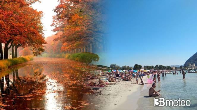 Arriva l'autunno al Nord, ancora piena estate al Sud