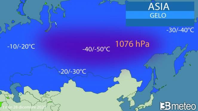 Asia sotto il gelo con forte anticiclone termico