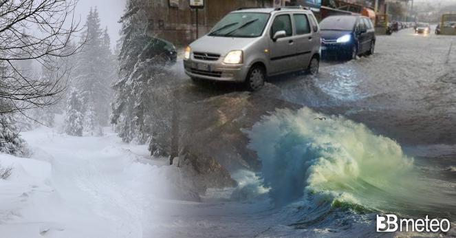 Assaggio d'inverno per molte nazioni d'Europa, vento, freddo e neve