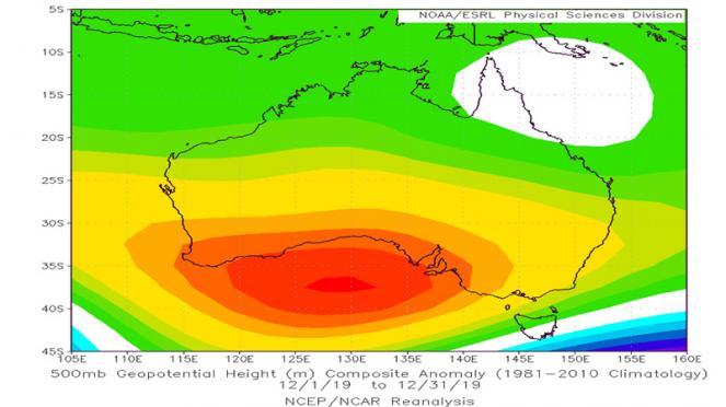 Australia, geopotenziale a 500 hPa