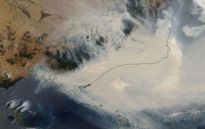Australia il fumo degli incendi visto dal satellite
