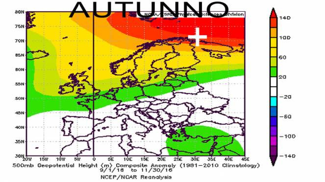 autunno 2016: reanalisi a 500 hPa