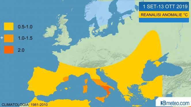 autunno 2019: reanalisi termica primi 40 giorni