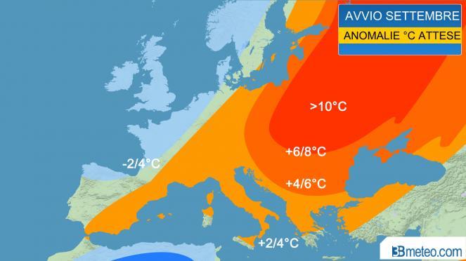 Avvio settembre, anomalie termiche attese