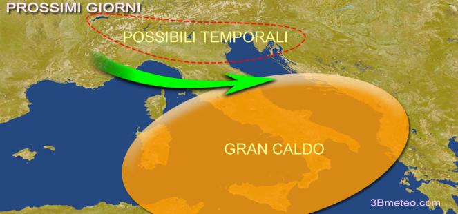 caldo e temporali, Italia divisa