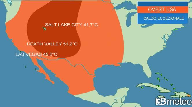 Meteo. Caldo eccezionale su ovest USA, diversi record battuti, 45°C a Las Vegas