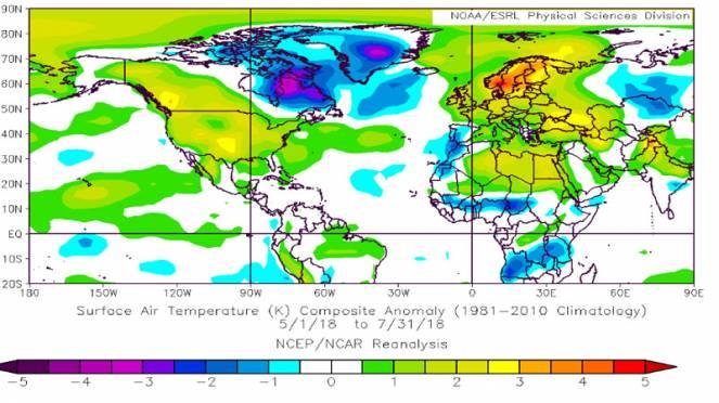 caldo record nel trimestre maggio-luglio