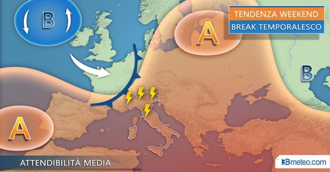 Centro-Nord Italia possibile obiettivo dei temporali nel prossimo weekend