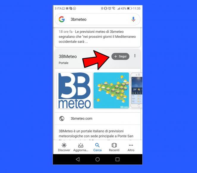 Cercate 3bmeteo su Google App, quindi scrollare in basso fino a quando non si trova la scheda WIKIPEDIA. Cliccare dunque su segui