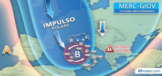 Italia bersaglio del CICLONE MEDITERRANEO; MALTEMPO, vento e NEVE anche in pianura