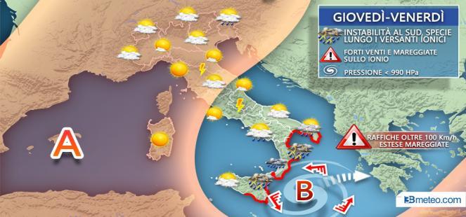 Ciclone mediterraneo lambisce Italia