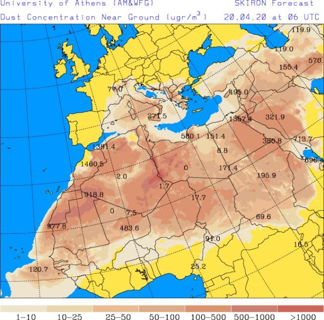 Concentrazione del pulviscolo sahariano (SKIRON) per lunedì mattina
