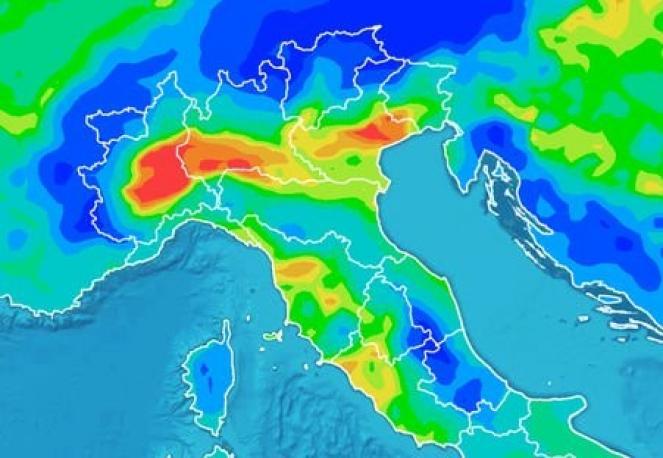 Concentrazione di PM10 prevista per domenica mattina