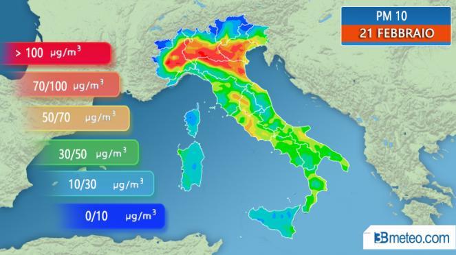 Concentrazione di PM10 prevista per giovedì 21 febbraio