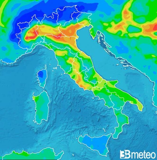 Concentrazione di PM10 prevista per giovedì mattina