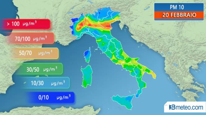 Concentrazione di PM10 prevista per mercoledì 20 febbraio