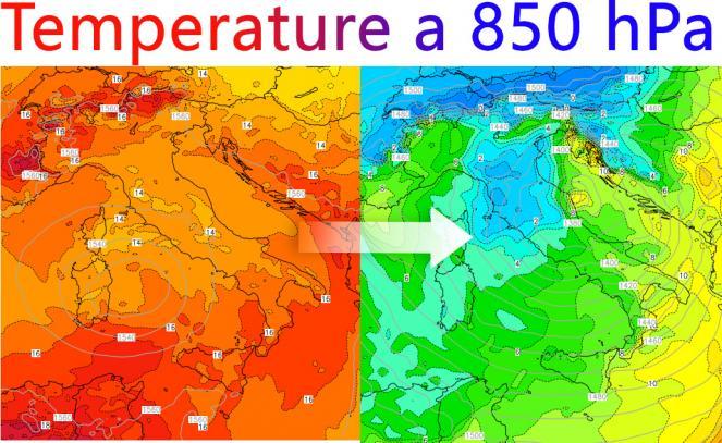 Confronto temperature 850 hPa tra giovedì 20 Settembre e Sabato 29 Settembre