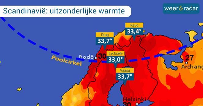 Continua l'ondata di caldo in Scandinavia, superati i 33° oltre il circolo polare artico