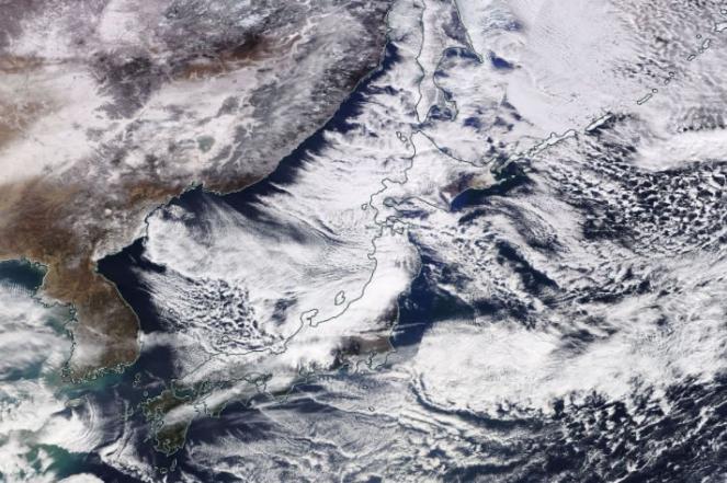 Correnti gelide che scorrono sul Mar del Giappone favorendo nevicate