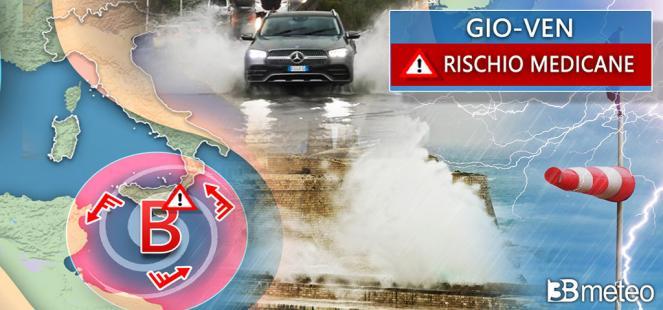 ⚠AVVISO rischio MEDICANE prossimi giorni: SEVERO MALTEMPO, potenziale alluvionale