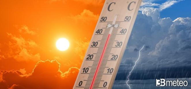 Cronaca diretta, rovesci e temporali al Nord, caldo intenso al Sud