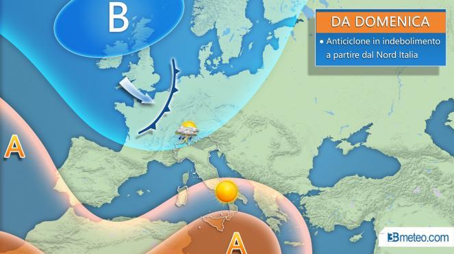 Da domenica anticiclone in indebolimento a partire dal Nord Italia