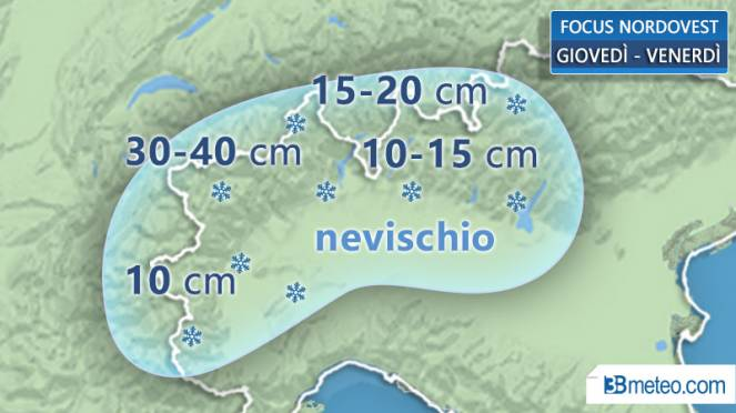 Dettaglio neve atteso al Nordovest