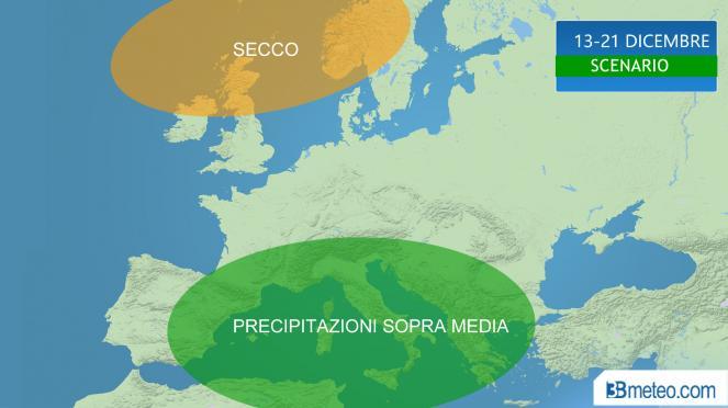 Dicembre, seconda parte piovosa sul Mediterraneo