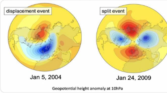 displacement e split del vortice polare