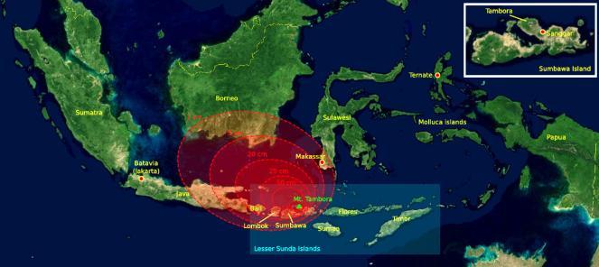 Distribuzione degli accumuli piroclastici nella zona indonesiana