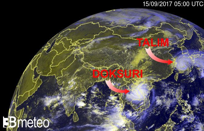 Doksuri e Talim visti dal satellite