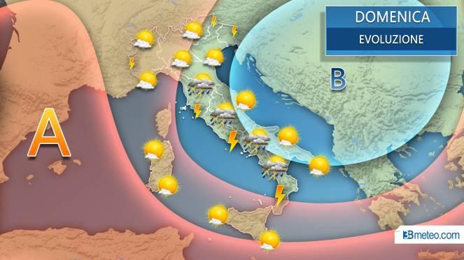 Domenica a forte rischio temporali sulle regioni del medio basso Tirreno