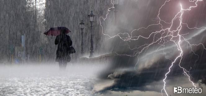 Domenica con temporali, nubifragi e grandine al Nord