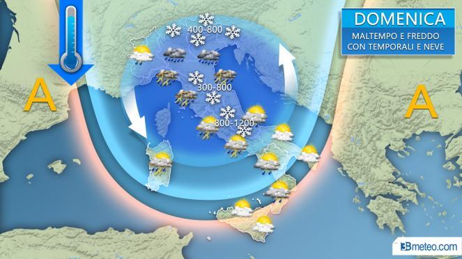 Domenica di maltempo al Centro Nord con temporali, grandine e neve a bassa quota