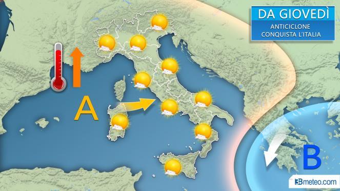 Dopo giovedì anticiclone prevalente con tempo stabile e soleggiato