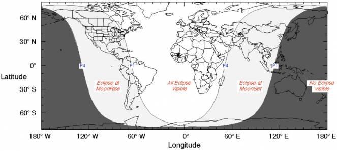 Dove sarà visibile l'eclisse