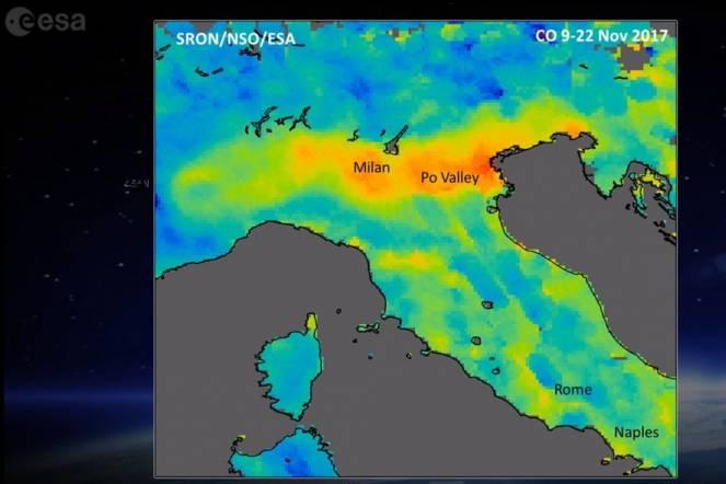 Ecco le aree più inquinate dal monossido di carbonio, immagine riferita allo scorso 22 novembre (fonte: esa.int)