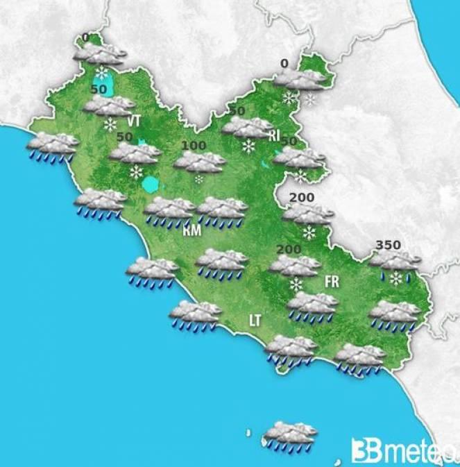 Ecco le nevicate sul Lazio nella mattinata di sabato 13 febbraio.