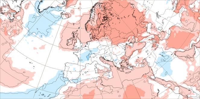 ECMWF, anomalie termiche prima decade di agosto