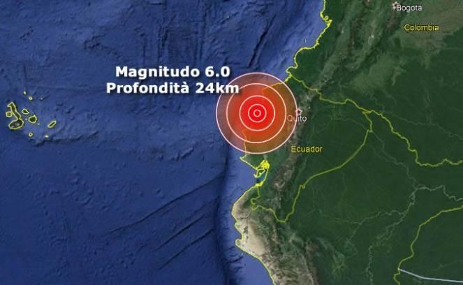 Ecuador, forte scossa di terremoto di magnitudo 6.0