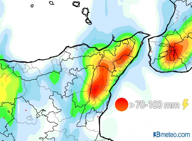 Elaborazione 3B-LAM: rischio intensi nubifragi prefrontali tra Etna e Peloritani