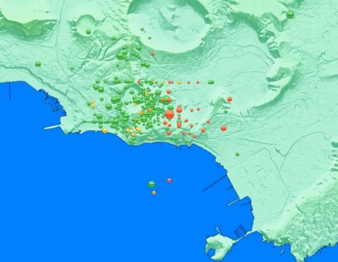 epicentri dei terremoti di Pozzuoli