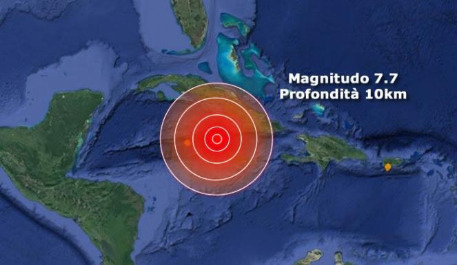Epicentro del terremoto in Giamaica