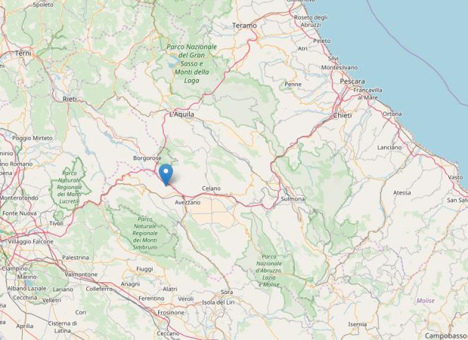Epicentro sisma in provincia de L'Aquila
