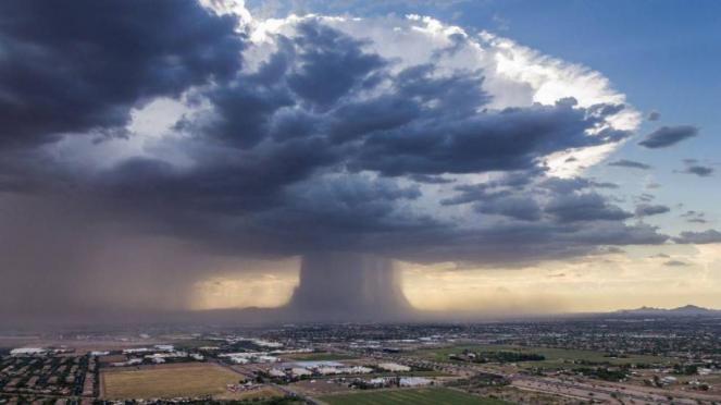 Esempio di microburst a seguito di una localizzata ma forte precipitazione temporalesca