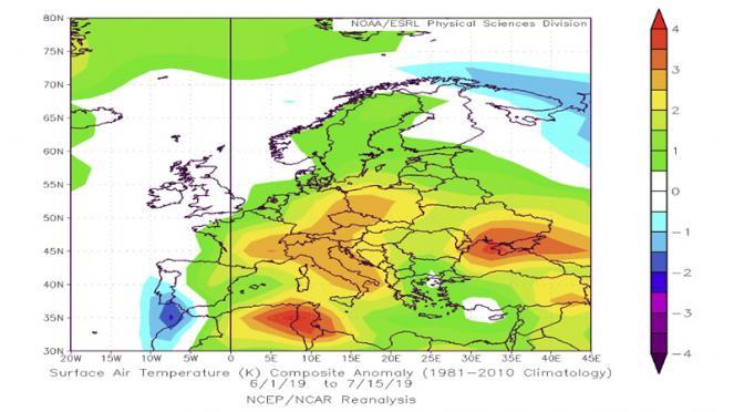 estate 2019: analisi temperature al suolo della prima parte