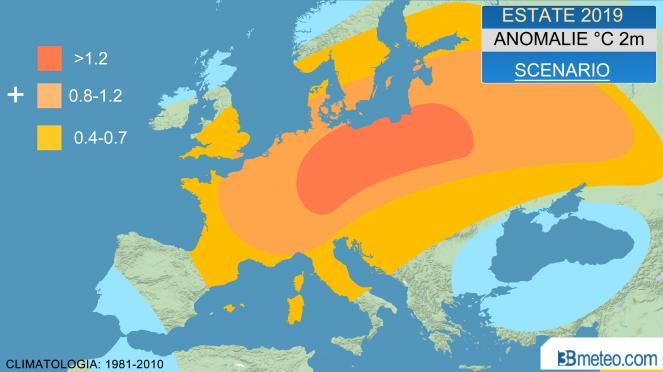 estate 2019: anomalie °C a 2m attese