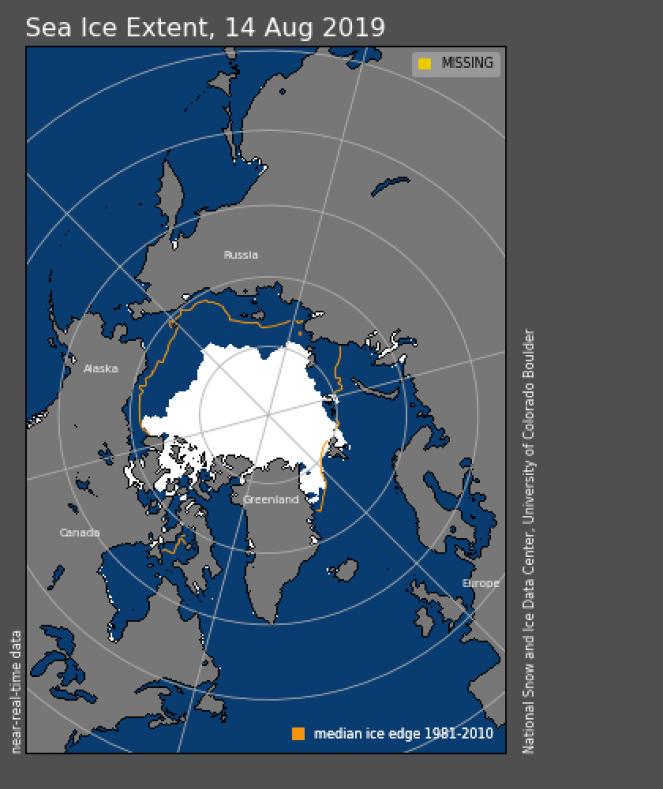 Estensione dei ghiacci artici il 14 agosto
