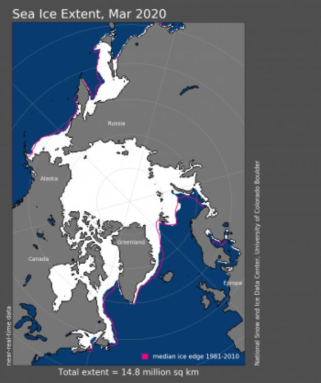 Estensione ghiaccio marino artico a marzo 2020